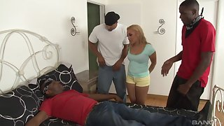 Tinslee Reagan is between her black friends during a wild threesome