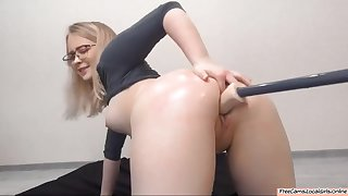 Chubby Blonde Slut Taking Machine Dildo There Both Holes