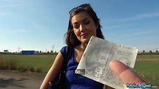 Active hoax in outdoor POV for a cute clumsy Czech girl