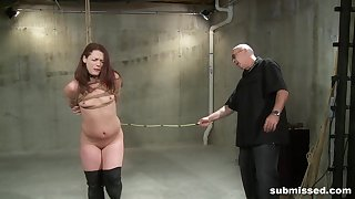Full passion for a slim redhead in scenes of full obedience