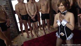 Sweet Japanese girl Ogata Runa enjoys getting fucked by number of men