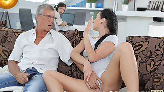 DADDY4K. Darkhaired Pet satisfies her sexual needs using fornicate